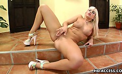 Big tit blonde Cindy uses a glass dildo