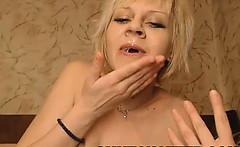 Blonde babe swallowing a load of cum on web cam