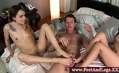 Leyla Black and Marica Hase foot trio fucked