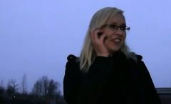 Shy blonde with glasses fucked and gets cumshot in public