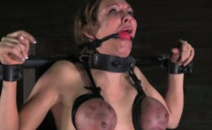 Gagged sub punished with breast bondage