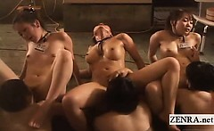 Subtitled Japanese synchronized oral sex bathhouse orgy