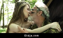 Big boned grandpa fucks nympho teeny in the woods
