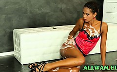 Hot ebony gets all slimy