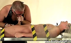 Nude men Strapped down to the cold iron table, Jake has his