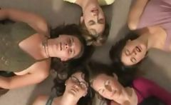 Five horny girls get together for a joint masturbation scene