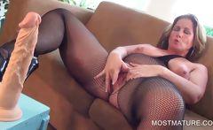 Horny mature pleasuring clitoris