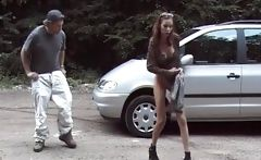 Some slut get horny ride by car