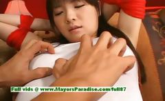 Japanese AV girl is tied and gets her cute pussy teased
