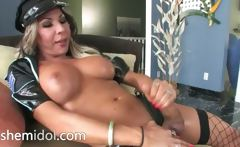 Ugly policeman shemale with brutal dildo