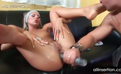 Cunt licked blonde gets juicy ass dildo fucked