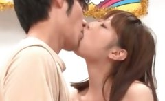 Passionate tongue kiss scene with asian couple
