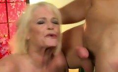 hefty blonde mature in nylon