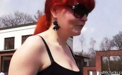 Hairy pussy Eurobabe Florence analyzed at the park for money